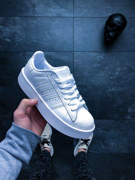 Женские кроссовки Adidas Superstar Bold W (Ftwr White   Ftwr White   Core  Black) адидас белые c3fec47f13f67