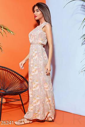 Летнее платье с цветочным принтом полу облегающее длинное без рукав мультиколор , фото 2