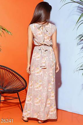 Летнее платье с цветочным принтом полу облегающее длинное без рукав мультиколор большие размеры, фото 2