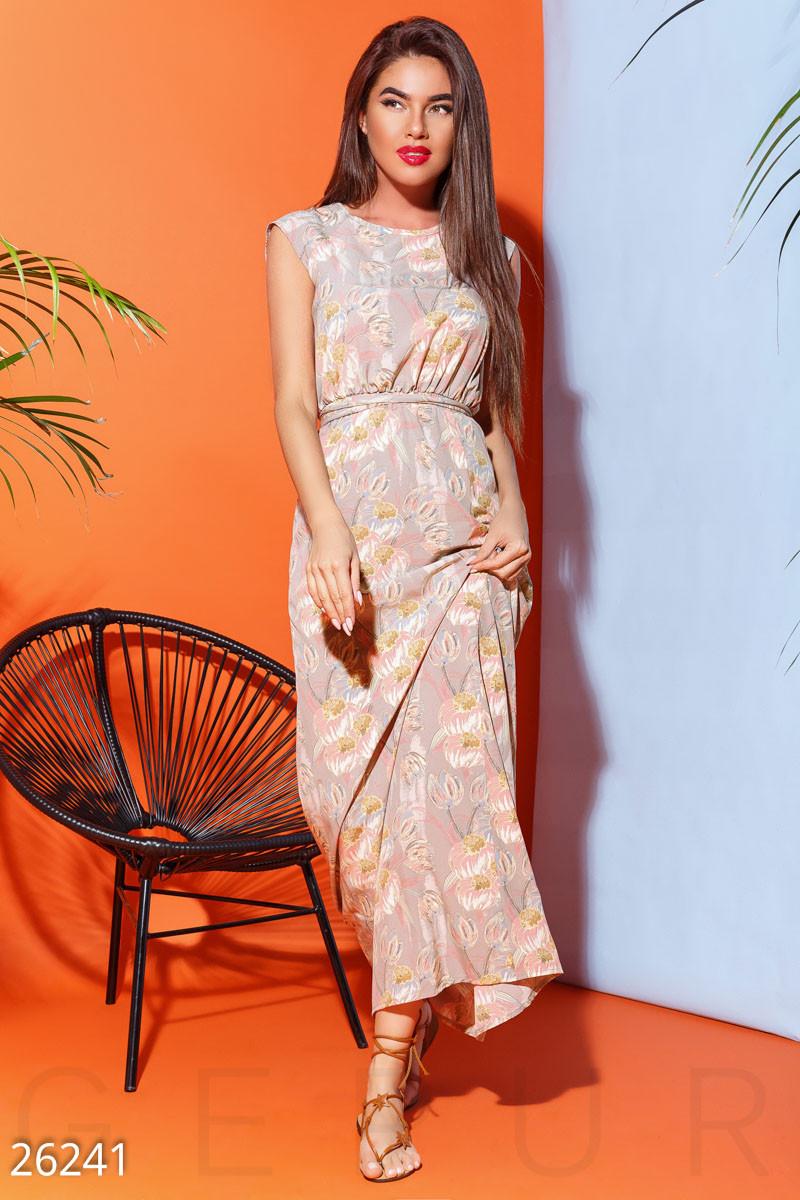 Летнее платье с цветочным принтом полу облегающее длинное без рукав мультиколор