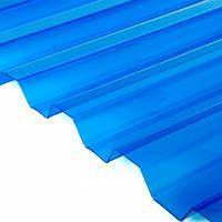 ПВХ лист  SALUX  2 м х0,9 м х 0.8 мм синяя прозрачная трапеция
