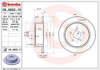Тормозные диски SUBARU Lagacy IV задние | Brembo (08. A605.10)