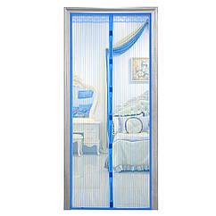 Дверная антимоскитная сетка на магнитах синяя
