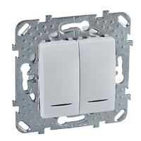 Выключатель 2-й, СХ.6+6 с инд. лампой Белый Unica Schneider, MGU5.0303.18NZD