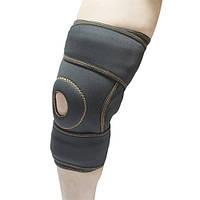 Бандаж коленного сустава неопреновый с ребрами жесткости и силиконовым кольцом Alkom 4053