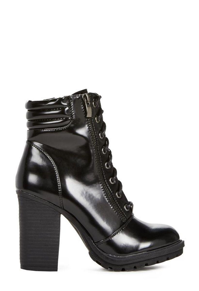 Ботильоны на каблуке JustFab Womens Pembe Black