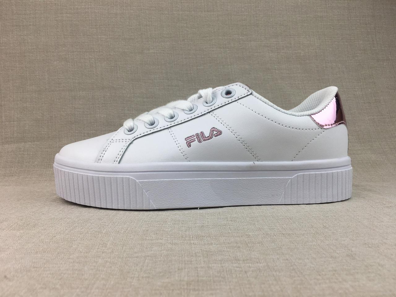 Женские кеды-кроссовки Fila Court Deluce VC на платформе белые с розовым  2535 - Компания e37bd5085c2