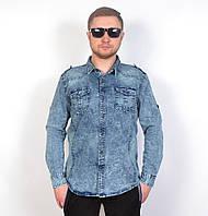 Стильна чоловіча джинсова  сорочка на весну/літо ТОП -якість