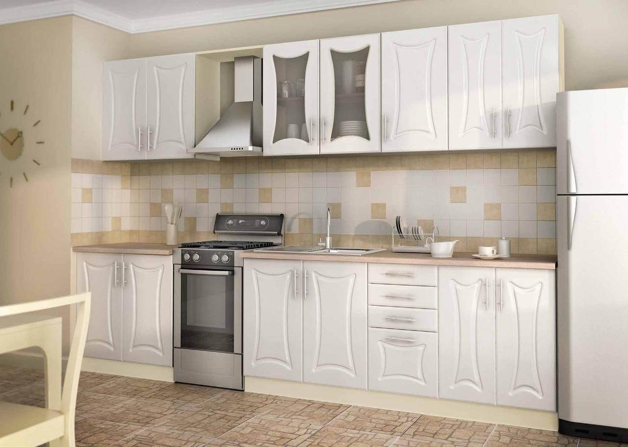 Кухня под заказ классика ванильного цвета изготовление, вариант-033