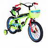 """Велосипед двухколесный 16"""" SW-17006-16 салатовый с ветящиеся переднее колесо."""