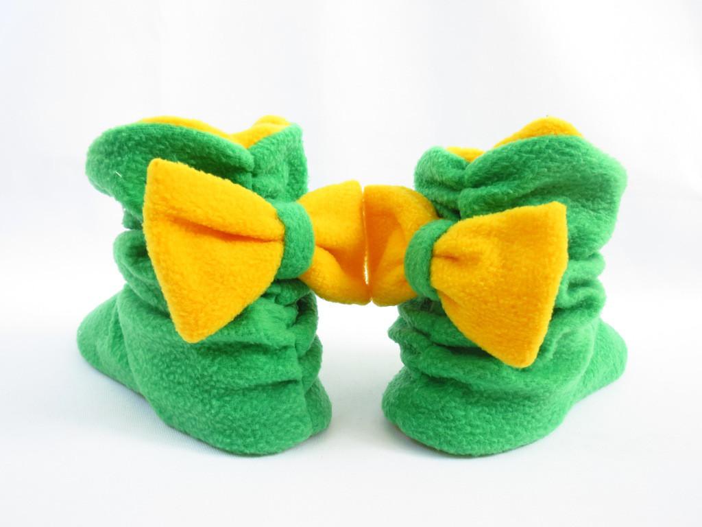 Тапочки Бантики зеленые с желтым бантом