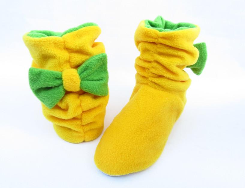 Тапочки Бантики флисовые желтые с бантом зеленым