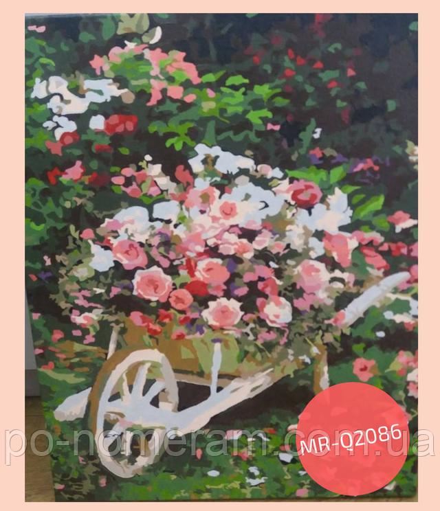 нарисованная картина по номерам розовый куст
