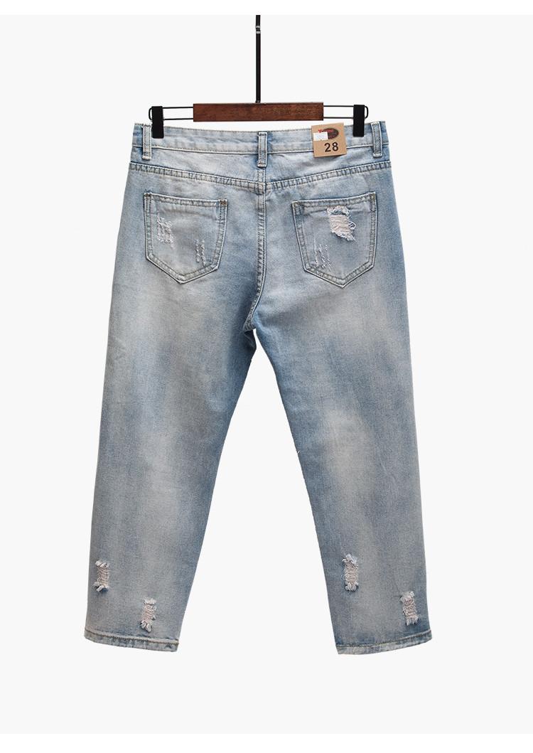 cf44e1b6405 Женские укороченные джинсы Бойфренды с цветами и бусинами голубые ...