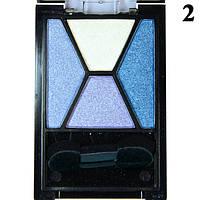 """Тени """"Qianyu"""" MS 040  Четырехцветные Белые, Синие, Голубые Атласные Компактные тон 2"""