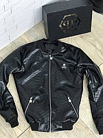 Куртка бомбер Philipp Plein D3142 черная кожаная кроко