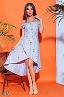 Женское летнее платье в полоску полу приталенное открытые плечи асимметричная юбка бело голубое