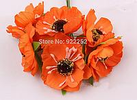 Декоративные цветы дикого мака диаметр 4.5-5 см, 72 шт/уп., оранжевого цвета оптом, фото 1