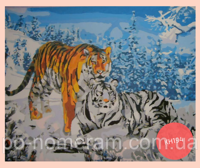 нарисованная картина по номерам два тигра