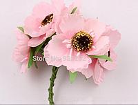 Декоративные цветы дикого мака диаметр 5 см, 6 шт/уп, розового  цвета, фото 1