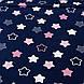 Хлопковая ткань бязь звезды (пряники) белые, розовые, серые с зигзагами внутри на синем, фото 2
