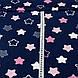 Хлопковая ткань бязь звезды (пряники) белые, розовые, серые с зигзагами внутри на синем, фото 3