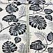 Хлопковая ткань польская листья папоротника серые на белом , фото 3