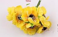 Декоративные цветы дикого мака диаметр 5 см, 6 шт/уп. желтого цвета, фото 1