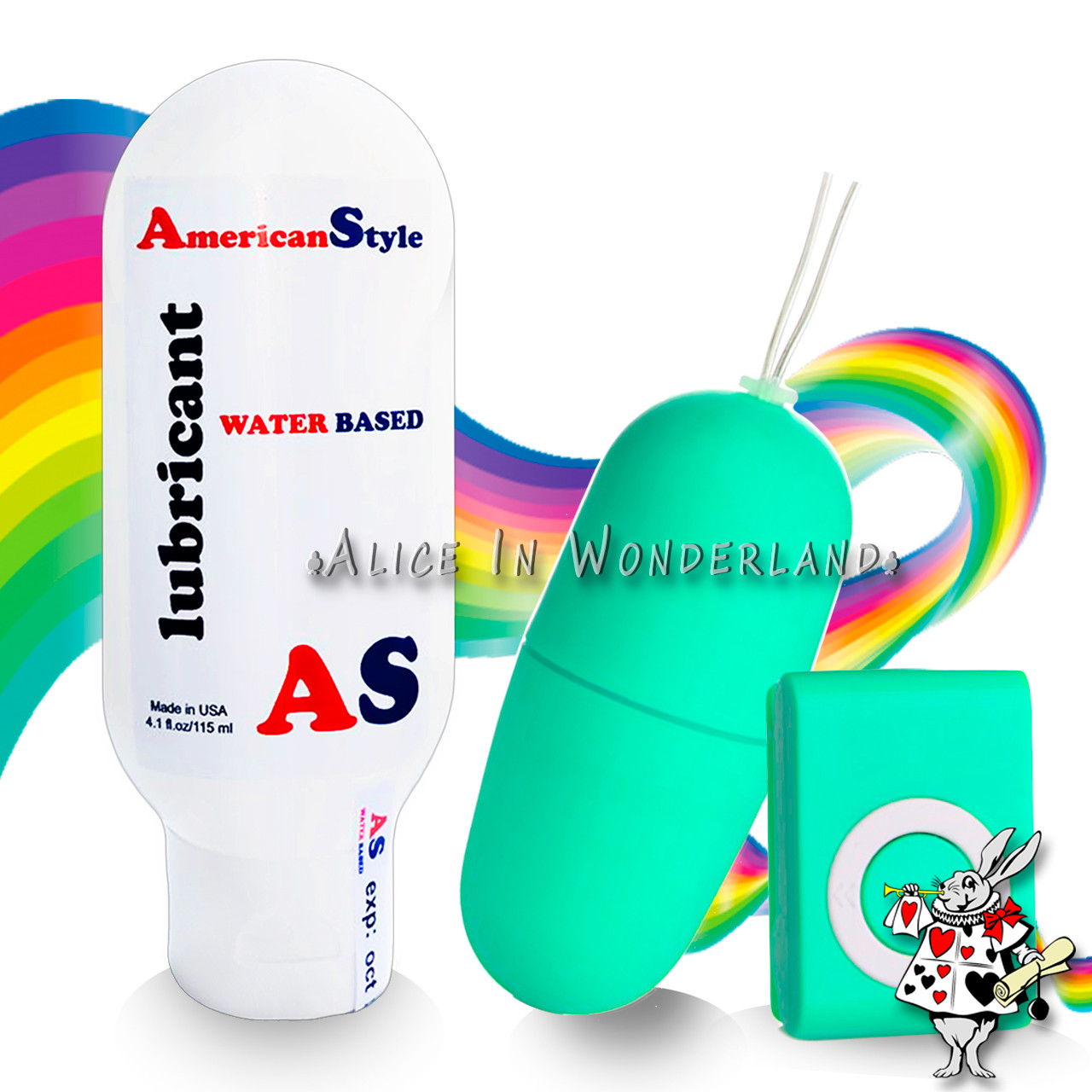 Лубрикант на водной основе American Style 115ml + мини вибратор женский бирюзового цвета