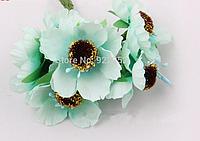 Декоративные цветы дикого мака диаметр 5 см, 6 шт/уп., бирюзового, небесно-голубого, мятного цвета, фото 1