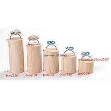 Подставки для колец (5шт в наборе) деревянные держатели круглые, фото 3