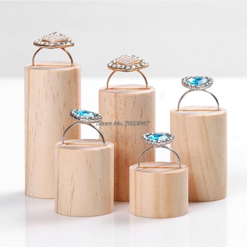 Подставки для колец (5шт в наборе) деревянные держатели круглые
