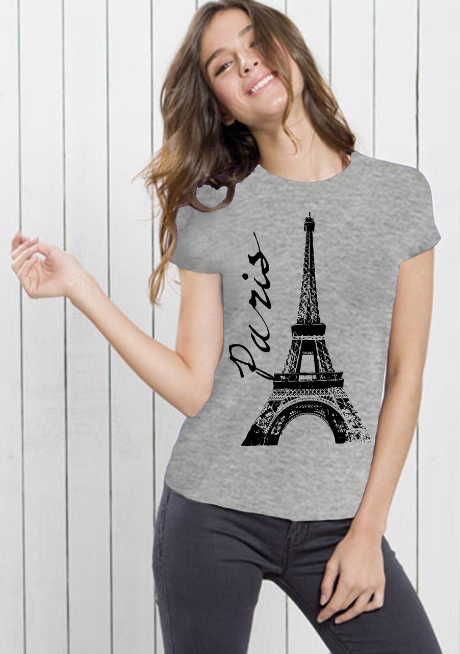 """Футболка женская серая с рисунком """"Эйфелевая башня"""""""