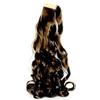 Хвост накладной с дополнительной прядью на липучке из искусственных вьющихся волос шоколад