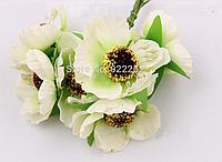 Декоративные цветы дикого мака диаметр 4.5-5 см, 72 шт/уп., бело-зеленого цвета оптом, фото 1