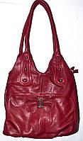 Женская бордовая сумка из искусственной кожи с цветком на 2 отделения 22*32 см