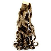 Хвост накладной с дополнительной прядью на липучке из искусственных вьющихся волос пепельный русый
