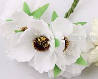 Декоративные цветы дикого мака диаметр 5 см, 6 шт/уп., белого цвета, фото 1