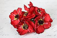 Декоративные цветы дикого мака диаметр 5 см, 6 шт/уп, насыщенно красного цвета, фото 1