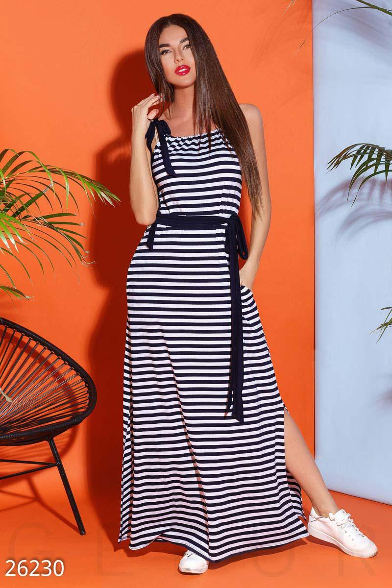 498c9be14d0 Летнее длинное платье полу облегающее полосатое -
