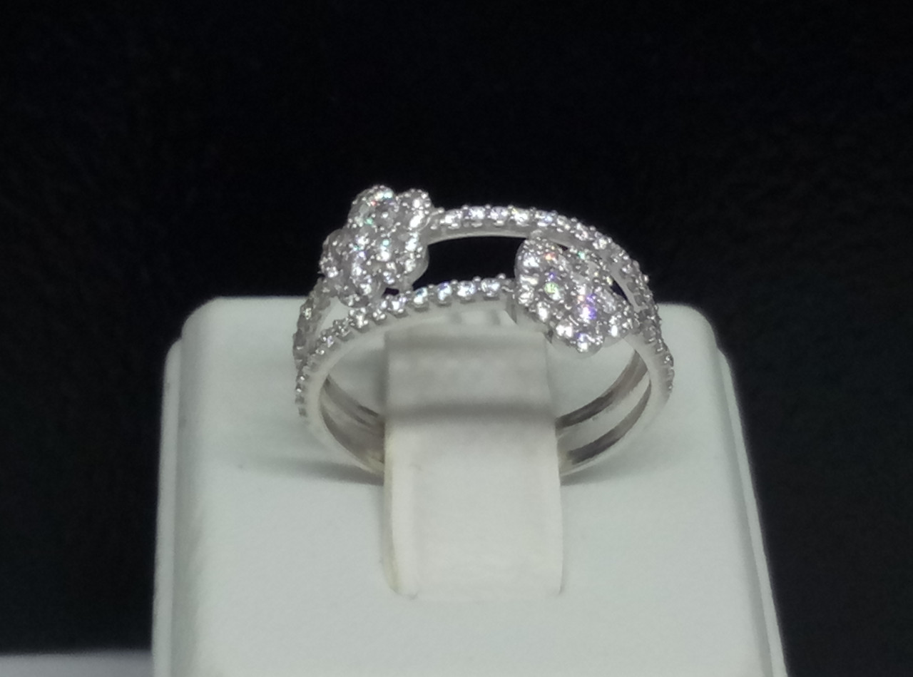 Серебряное кольцо Ночная фиалка с фианитами. Артикул 1330/1Р-CZ