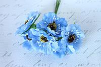 Декоративные цветы (маки) диаметр 5 см, 6 шт/уп., голубого цвета, фото 1