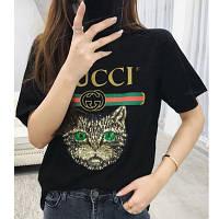 Женская футболка в стиле Gucci с пайетками Cat черная, фото 1