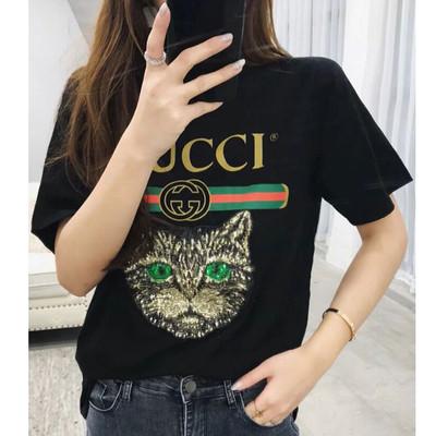 Женская футболка в стиле Gucci с пайетками Cat черная