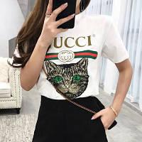Женская футболка в стиле Gucci с пайетками Cat белая
