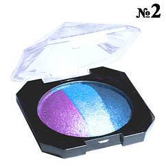 """Тени """"Laviar"""" № 6608 Голубые Синие Сиреневые Запеченные Трехцветные Компактные Тон 02"""