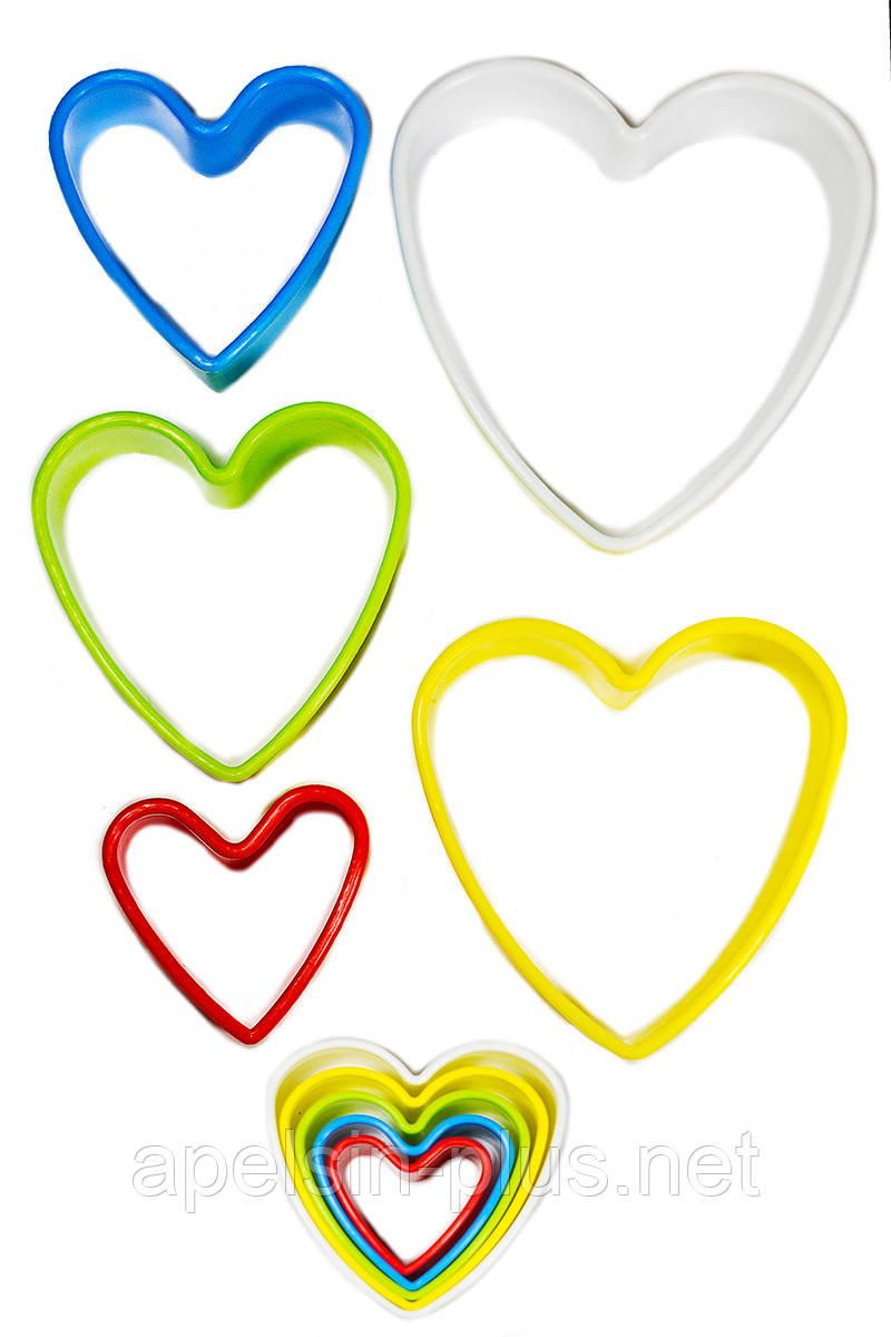 """Вырубка пластиковая для печенья """"Сердечки"""" набор из 5 форм"""