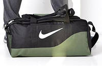 Дорожная сумка Nike 115435 средний размер 47х24х25 см черная с зеленым спортивная багажная текстильная