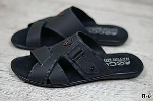 Мужские кожаные шлепанцы Ecco черного цвета (реплика)