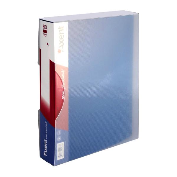 Папка на 80 файлов А4 пластиковая Axent 1280 дисплей-книга синяя